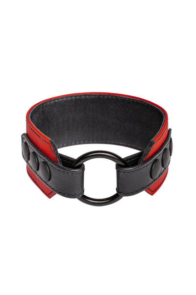 A red leather armband with black metal O-ring