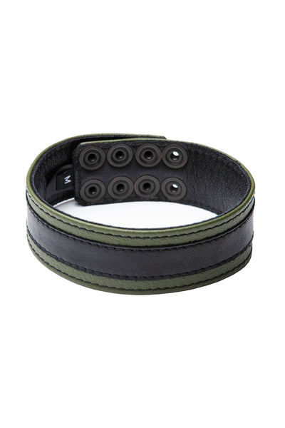 "1.5"" wide army green leather armband with black racer stripe detail"