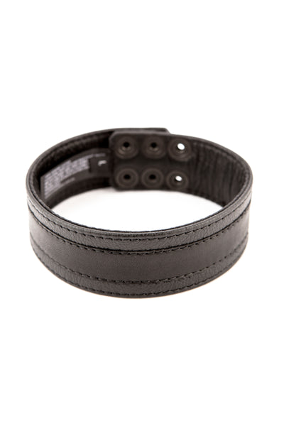 Black leather racer stripe armband