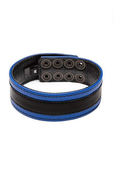 "1.5"" wide blue leather armband with black racer stripe detail"