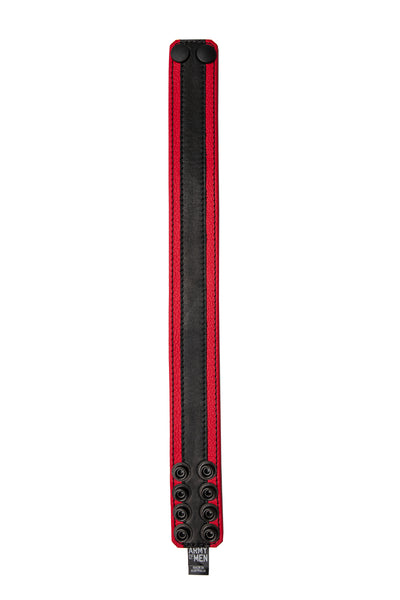 "1.5"" wide red leather armband with black racer stripe detail"