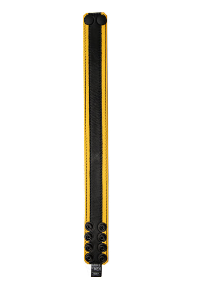 "1.5"" wide yellow leather armband with black racer stripe detail"