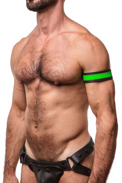 "Model wearing a 1.5"" wide black leather armband with fluro green leather racer stripe"