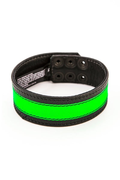 "1.5"" wide black leather armband with fluro green leather racer stripe"