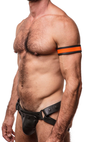 "Model wearing a 1.5"" wide black leather armband with fluro orange leather racer stripe"
