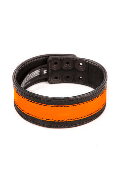 "1.5"" wide black leather armband with fluro orange leather racer stripe"