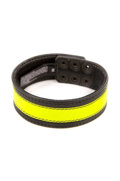 "1.5"" wide black leather armband with fluro yellow leather racer stripe"