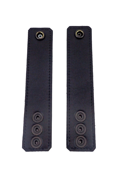 "Black leather and stainless steel 1.5"" wide ball stretchers lining"