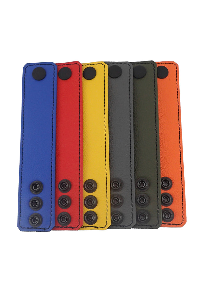"6 coloured leather 1.5"" wide ball stretchers flat"