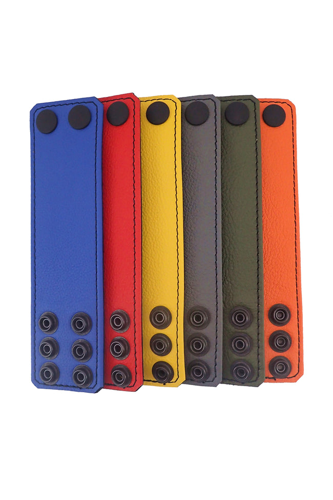 "6 coloured leather 2"" wide ball stretchers flat"