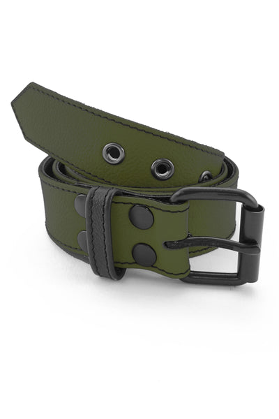 "1.5"" wide army green leather corporal belt with black rivets, buckle and belt keeper"