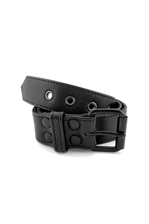 Black leather men's fashion belt