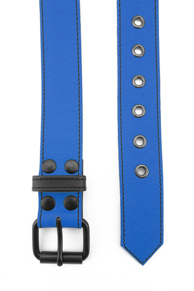 "1.5"" wide blue leather corporal belt with black rivets, buckle and belt keeper"