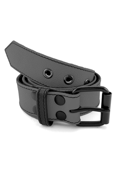 "1.5"" wide grey leather corporal belt with black rivets, buckle and belt keeper"