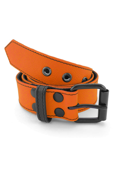 "1.5"" wide orange leather corporal belt with black rivets, buckle and belt keeper"