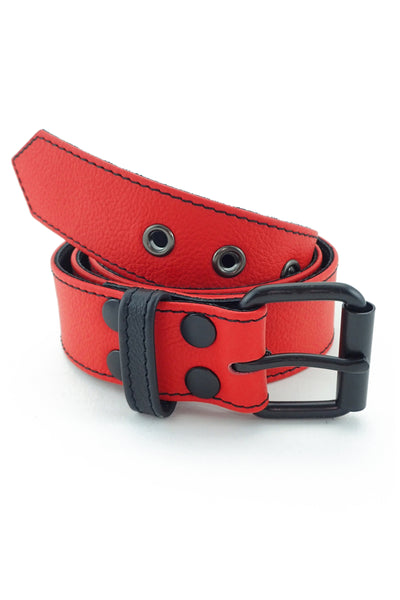 "1.5"" wide red leather corporal belt with black rivets, buckle and belt keeper"