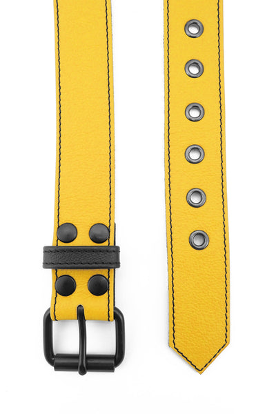 "1.5"" wide yellow leather corporal belt with black rivets, buckle and belt keeper"