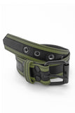 Army green leather racer stripe belt