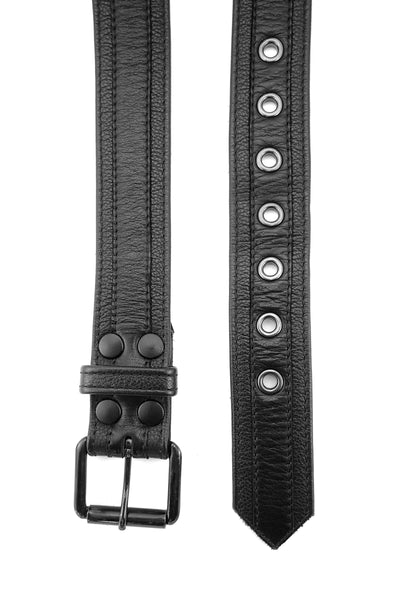 Black leather racer stripe belt
