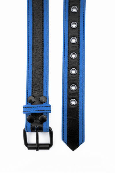 Blue leather racer stripe belt