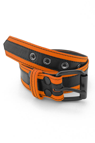 Orange leather racer stripe belt