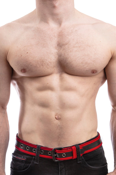 Model wearing red leather racer stripe belt