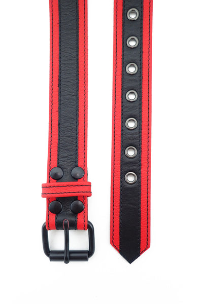 Red leather racer stripe belt