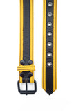 Yellow leather racer stripe belt
