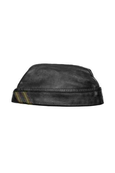 Black flight cap with army green stripes
