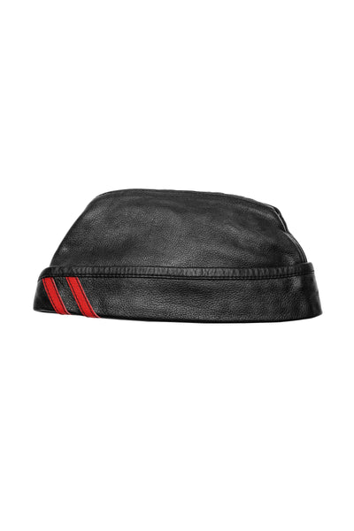 Black flight cap with red stripes