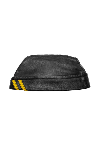Black flight cap with yellow stripes