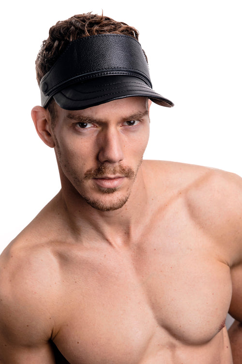 Model wearing black leather visor