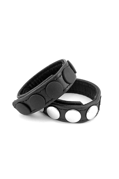 "3/4"" wide black leather cockrings with matt black or and stainless steel snaps, stacked"