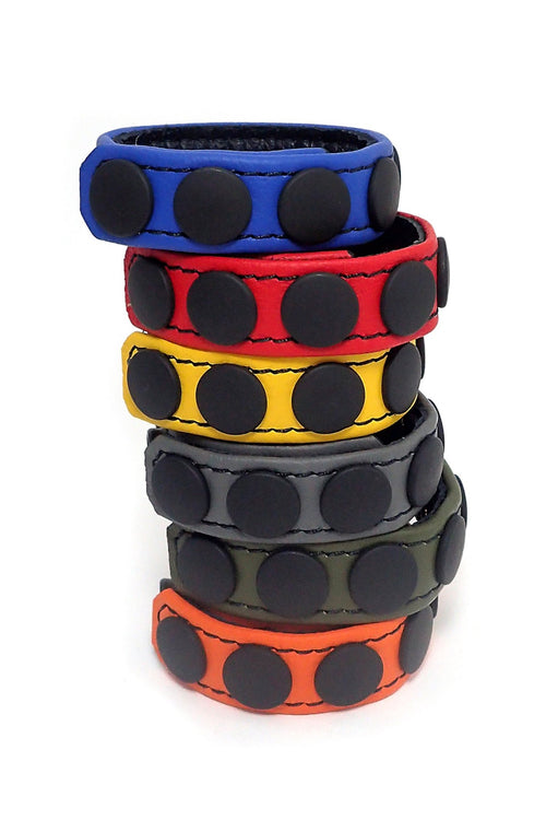 "6 coloured leather 3/4"" wide cockrings stacked"