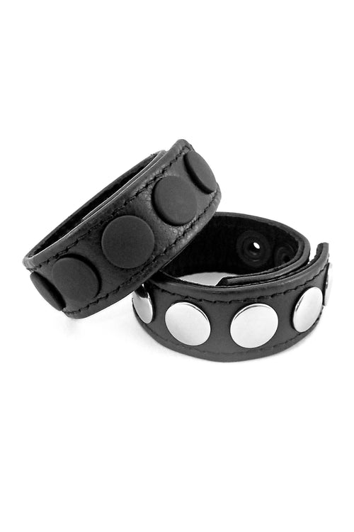 "1"" wide black leather cockrings with matt black or and stainless steel snaps, stacked"