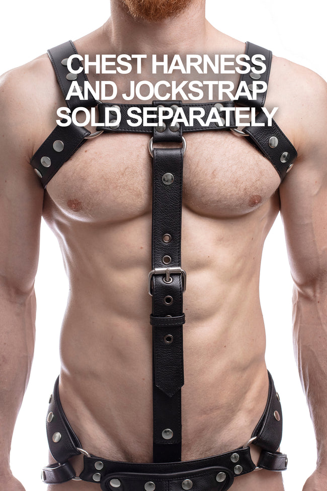 Model wearing black leather bulldog cockstrap with stainless steel hardware