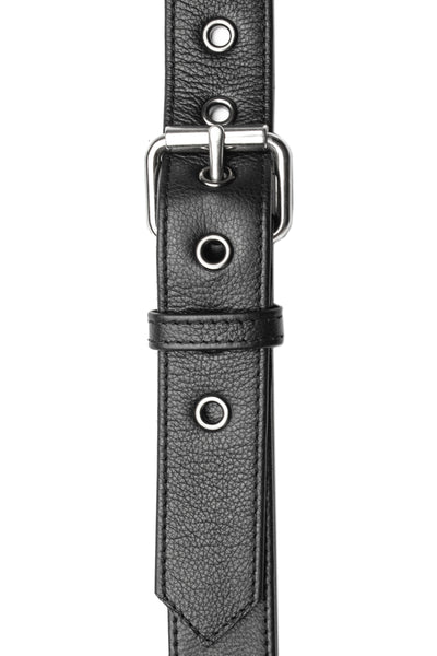 Stainless steel black leather cockstrap collar