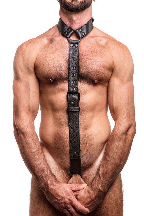 Model wearing black leather cockstrap collar