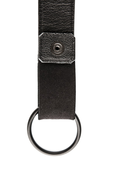 Black leather cockstrap collar lining