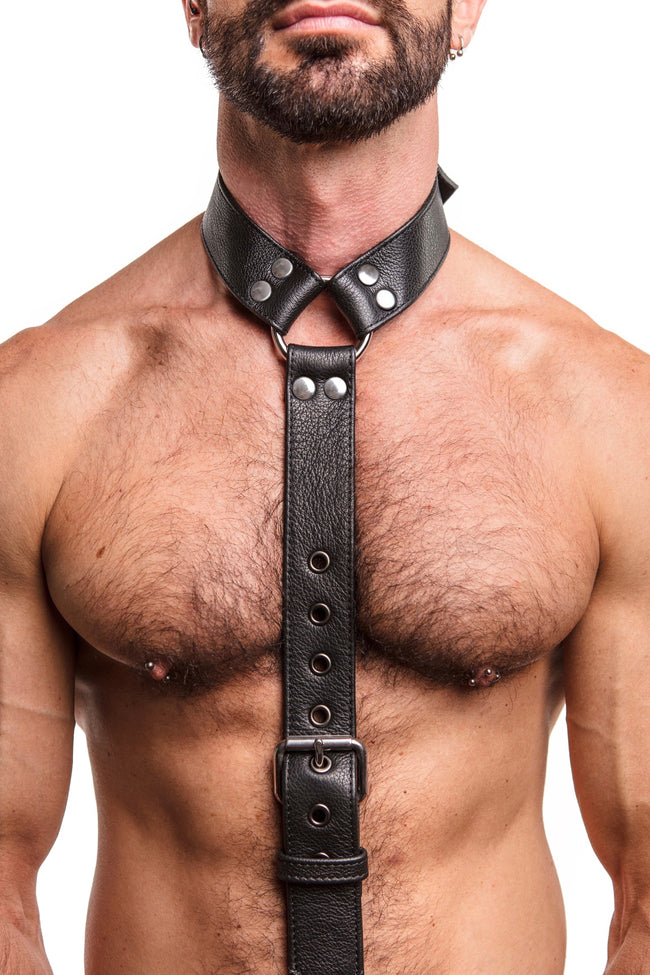 Model wearing stainless steel black leather cockstrap collar
