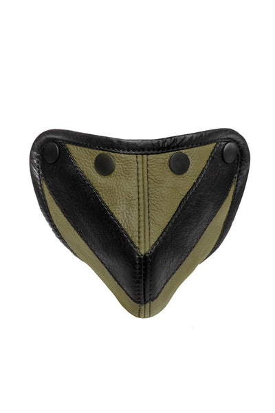 Army green leather chevron codpiece