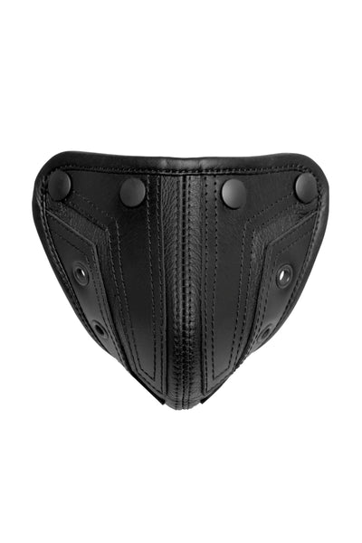 Product photo of a black leather combat codpiece