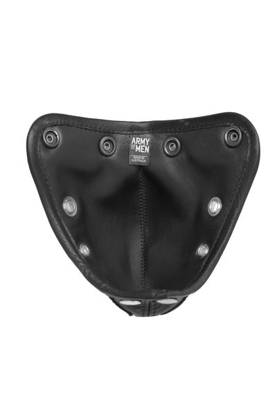 Product photo of a black leather and stainless steel combat codpiece lining