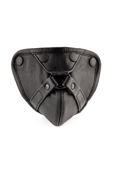Black leather harness codpiece