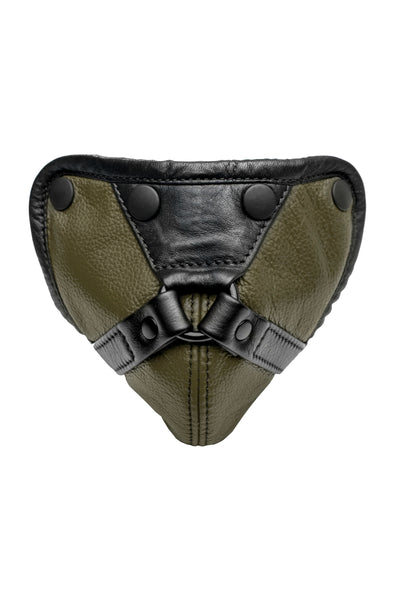 Army green leather harness codpiece