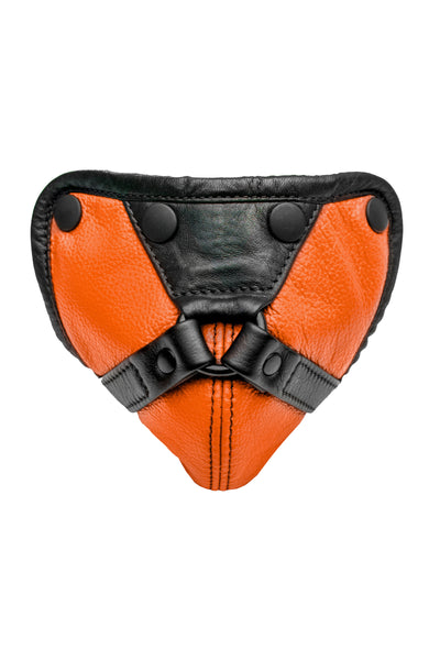 Orange leather harness codpiece