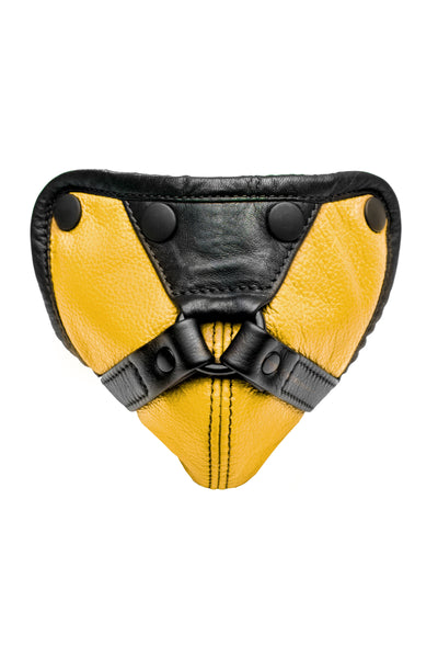 Yellow leather harness codpiece