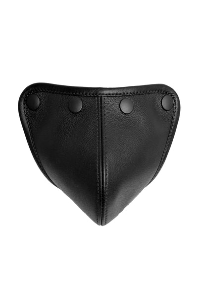 Black leather standard codpiece with matt black snaps