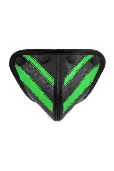 Fluro green leather stripe codpiece