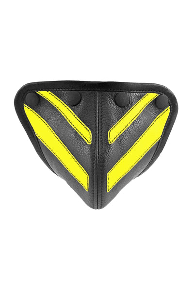 Fluro yellow leather stripe codpiece